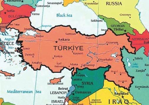 Съвременната турска карта завладя територия от България